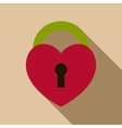 Heart lock icon flat style vector image