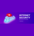 internet security cloud banner vector image vector image