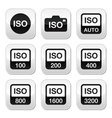 iso - camera film speed standard buttons set vector image vector image
