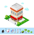 isometric city cafe with tables and trees vector image vector image