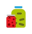 Jam jars icon flat style vector image vector image