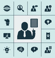 job icons set with computer analytics gear vector image