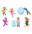 kids playing in winter games different childrens vector image vector image