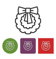 line icon of christmas wreath vector image vector image