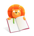 lion holds empty notebook to read write or draw vector image vector image