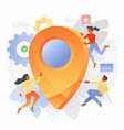 map pointer sign with tiny people vector image