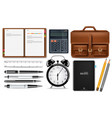 office supplies set realistic alarm clock vector image