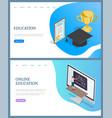online education rewards graduating vector image