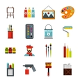 Painting icons set flat style vector image vector image