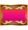 pink background with gold ornament of leaves vector image vector image