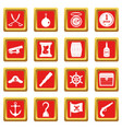 pirate icons set red vector image vector image