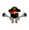 pirate logo head of buccaneer and gun pirate vector image vector image