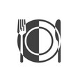 plate and cutlery icon vector image vector image