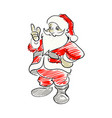 santa claus pointing up sketch hand vector image
