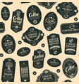 seamless pattern with black coffee labels vector image vector image