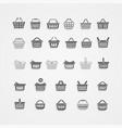 set black shopping basket vector image