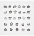 set of black shopping basket vector image vector image