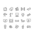simple set cinema related line icons vector image vector image