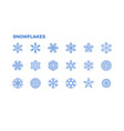 snowflake icons crystals snow for the vector image vector image