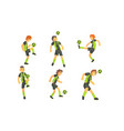 soccer players kicking ball set professional vector image vector image