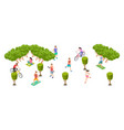 sports people isometric men women train on nature vector image vector image