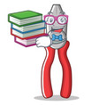 student with book pliers character cartoon style vector image