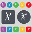 tennis icon sign A set of 12 colored buttons Flat vector image vector image
