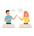 two people chat with speech bubbles cartoon vector image vector image