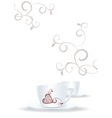 white cups and brown heart vector image