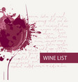 wine list with glass splashes and spots vector image