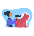 woman owner of pet caring for animal with long fur vector image