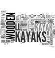 wooden kayaks text word cloud concept vector image vector image