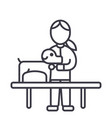 veterinary clinicdoctor with dog line icon vector image