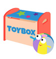 a happy ball next to a toybox vector image vector image