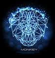abstract polygonal tirangle animal monkey neon vector image vector image