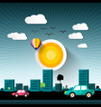 abstract sunset city with buildings and cars on vector image vector image