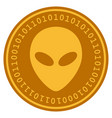 alien head digital coin vector image vector image