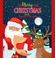 ard with santa claus and deer vector image