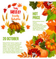 autumn season sale poster template with fall leaf vector image vector image