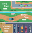 banner city bicycle trails people driving bike vector image vector image