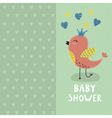 bashower invitation card with a cute bird vector image