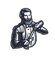 bearded barmen barkeeper or bartender in work