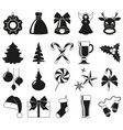 black and white 20 xmas elements vector image