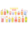 cartoon juice and lemonade refreshing summer vector image