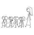 cartoon kindergarten teacher on walk with vector image