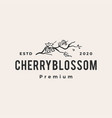 cherry blossom hipster vintage logo icon vector image vector image