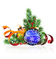 Christmas decorations with pine branches and vector image vector image