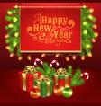 christmas gift box ball candy garland fir-tree vector image vector image