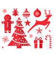 christmas symbols and decorations drawn in red vector image vector image
