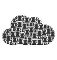 cloud shape of chess tower icons vector image vector image